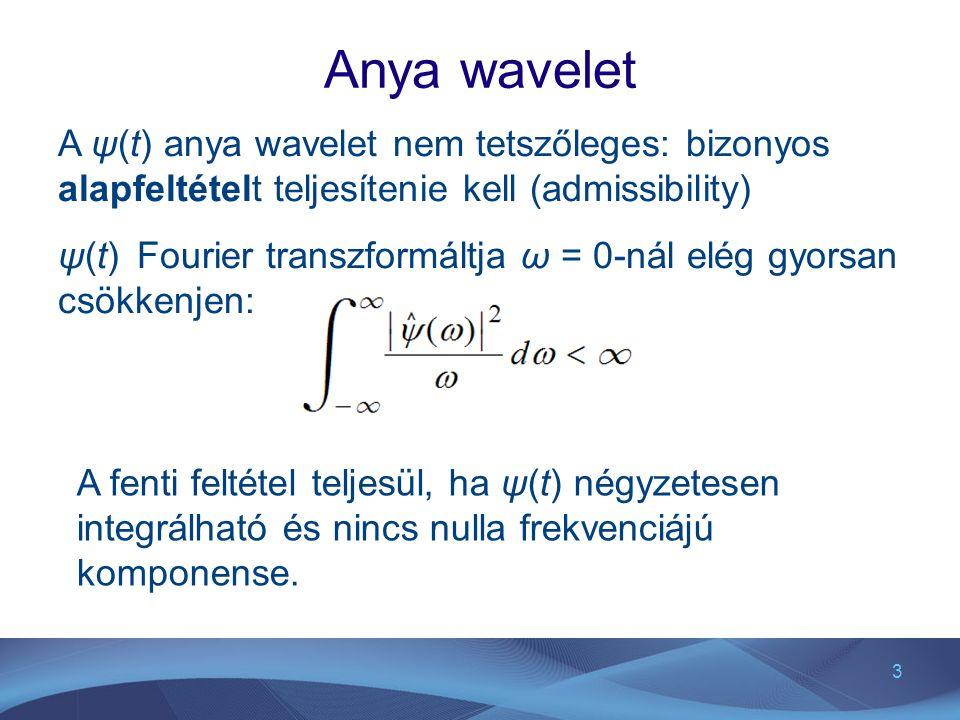 3 Anya wavelet A ψ(t) anya wavelet nem tetszőleges: bizonyos alapfeltételt teljesítenie kell (admissibility) ψ(t) Fourier transzformáltja ω = 0-nál el