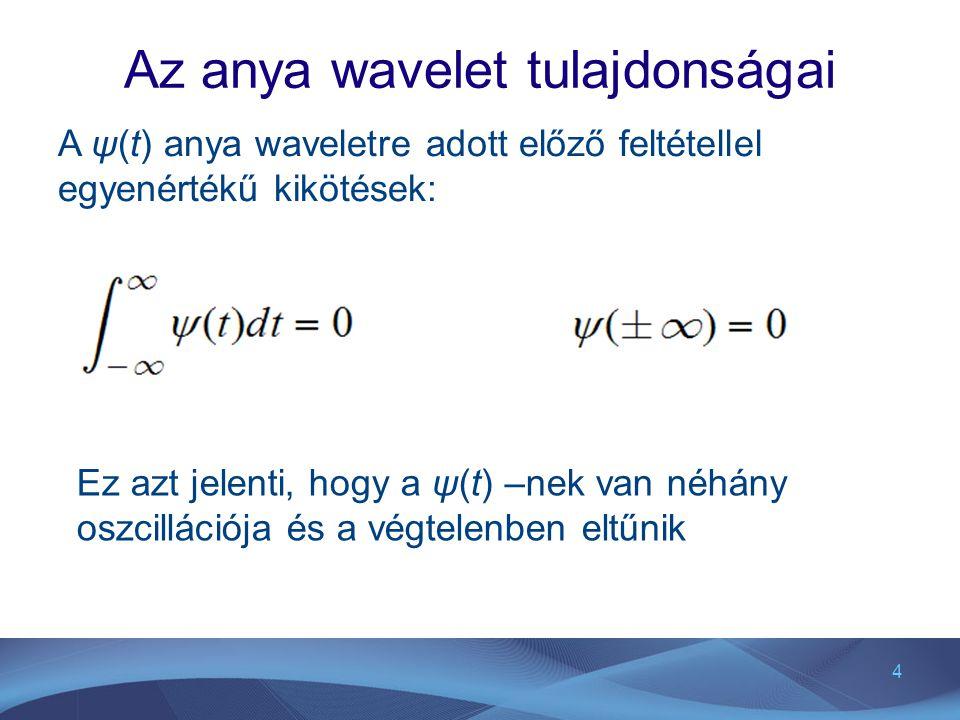 4 Az anya wavelet tulajdonságai A ψ(t) anya waveletre adott előző feltétellel egyenértékű kikötések: Ez azt jelenti, hogy a ψ(t) –nek van néhány oszci