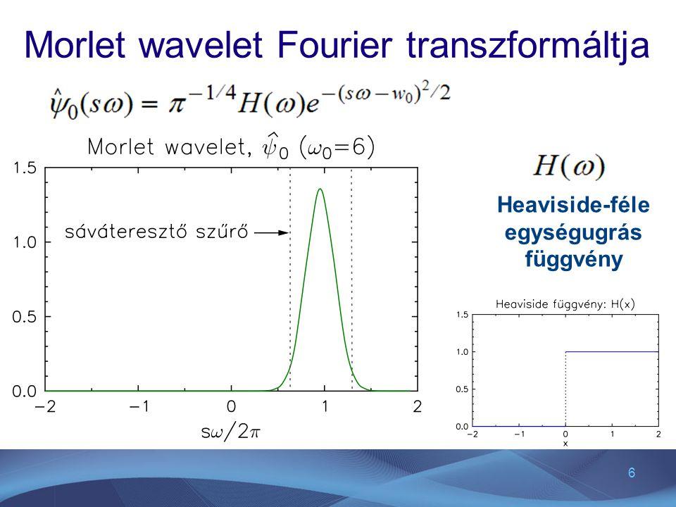 6 Morlet wavelet Fourier transzformáltja Heaviside-féle egységugrás függvény