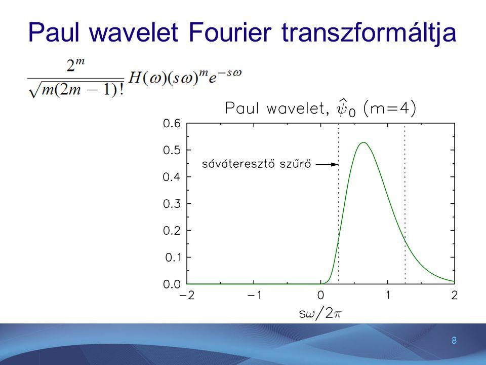 19 CWT diszkrét konvolúcióval A diszkrét x n sorozat CWT-je az alábbi szorzat inverz Fourier transzformáltja az ω k körfrekvencia definíciója: