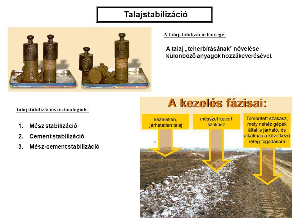 Talajstabilizációs géplánc – a talaj fellazítása bontófoggal ( 1 ) – a talaj aprítása marótárcsával ( 2 ) – a hiányzó szemszerkezetű anyag, vagy a cement ( 3 ) és a víz ( 4 ), vagy a bitumen kiszórása, ill.