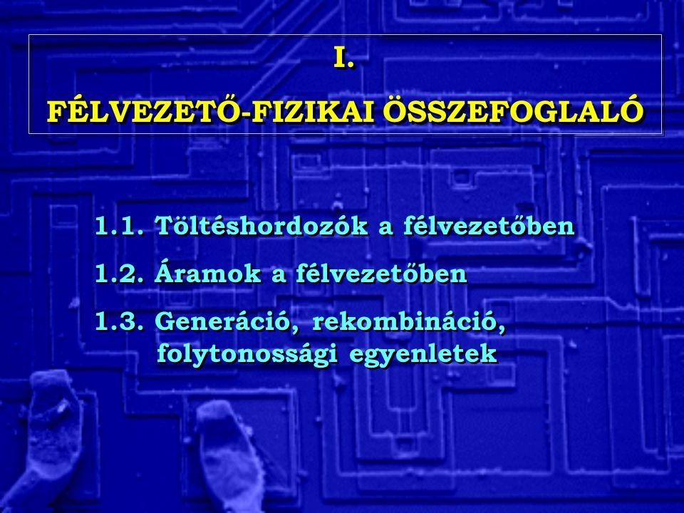 1.1. Töltéshordozók a félvezetőben 1.2. Áramok a félvezetőben 1.3. Generáció, rekombináció, folytonossági egyenletek 1.1. Töltéshordozók a félvezetőbe