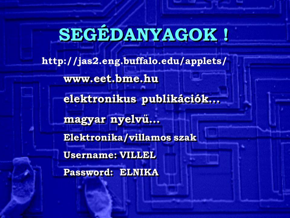 SEGÉDANYAGOK ! www.eet.bme.hu elektronikus publikációk... magyar nyelvű… Elektronika/villamos szak Username: VILLEL Password: ELNIKA www.eet.bme.hu el