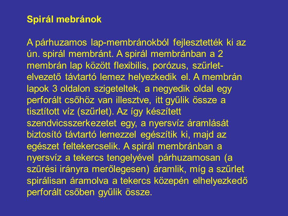 Spirál mebránok A párhuzamos lap-membránokból fejlesztették ki az ún. spirál membránt. A spirál membránban a 2 membrán lap között flexibilis, porózus,