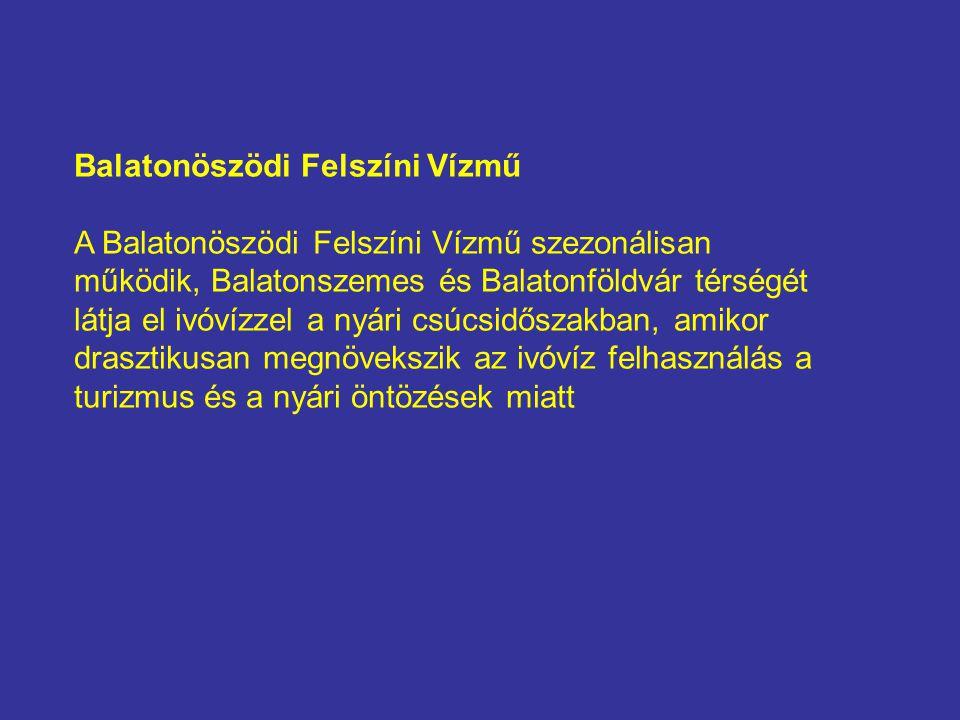 Balatonöszödi Felszíni Vízmű A Balatonöszödi Felszíni Vízmű szezonálisan működik, Balatonszemes és Balatonföldvár térségét látja el ivóvízzel a nyári