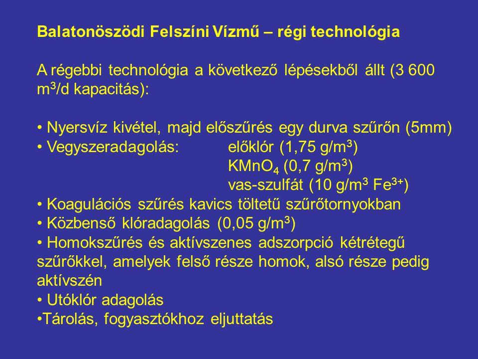 Balatonöszödi Felszíni Vízmű – régi technológia A régebbi technológia a következő lépésekből állt (3 600 m 3 /d kapacitás): Nyersvíz kivétel, majd elő