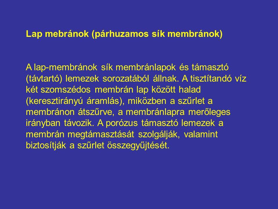 Lap mebránok (párhuzamos sík membránok) A lap-membránok sík membránlapok és támasztó (távtartó) lemezek sorozatából állnak. A tisztítandó víz két szom