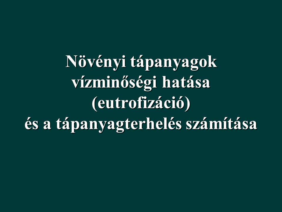 """A TÁPANYAGOK VÍZMINŐSÉGI HATÁSA A FELSZÍNI VIZEK EUTROFIZÁLÓDÁSA oTÁPANYAGOK FELDÚSULÁSA  NÖVÉNYI """"TÚLTERMELÉS oESZTÉTIKAI PROBLÉMA, KORLÁTOZOTT VÍZHASZNÁLATOK oFÜRDŐVÍZ DIREKTÍVA  TROFITÁS ELLENŐRZÉSE (POTENCIÁLISAN TOXIKUS CIANOBAKTÉRIUMOK) oVÍZ KERETIRÁNYELV  CÉL: JÓ ÖKOLÓGIAI ÁLLAPOT ELÉRÉSE 2015-RE (> 50 HA ÁLLÓVIZEK) A MESTERSÉGES EUTROFIZÁLÓDÁS OKAI ÉS KEZELÉSE oMÉRSÉKELT ÖVI TAVAKBAN AZ BIOMASSZÁT LEGGYAKRABBAN A FOSZFOR (P) KORLÁTOZZA  MEGOLDÁS: P TERHELÉS CSÖKKENTÉSE oP FORRÁSAI: VÍZGYŰJTŐN!"""