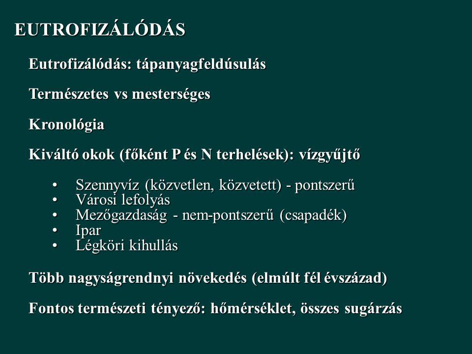 EUTROFIZÁLÓDÁS EUTROFIZÁLÓDÁS Eutrofizálódás: tápanyagfeldúsulás Természetes vs mesterséges Kronológia Kiváltó okok (főként P és N terhelések): vízgyűjtő Szennyvíz (közvetlen, közvetett) - pontszerűSzennyvíz (közvetlen, közvetett) - pontszerű Városi lefolyásVárosi lefolyás Mezőgazdaság - nem-pontszerű (csapadék)Mezőgazdaság - nem-pontszerű (csapadék) IparIpar Légköri kihullásLégköri kihullás Több nagyságrendnyi növekedés (elmúlt fél évszázad) Fontos természeti tényező: hőmérséklet, összes sugárzás