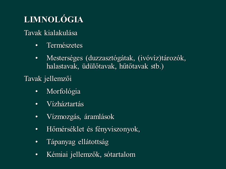 LIMNOLÓGIA Tavak kialakulása TermészetesTermészetes Mesterséges (duzzasztógátak, (ivóvíz)tározók, halastavak, üdülőtavak, hűtőtavak stb.)Mesterséges (duzzasztógátak, (ivóvíz)tározók, halastavak, üdülőtavak, hűtőtavak stb.) Tavak jellemzői MorfológiaMorfológia VízháztartásVízháztartás Vízmozgás, áramlásokVízmozgás, áramlások Hőmérséklet és fényviszonyok,Hőmérséklet és fényviszonyok, Tápanyag ellátottságTápanyag ellátottság Kémiai jellemzők, sótartalomKémiai jellemzők, sótartalom