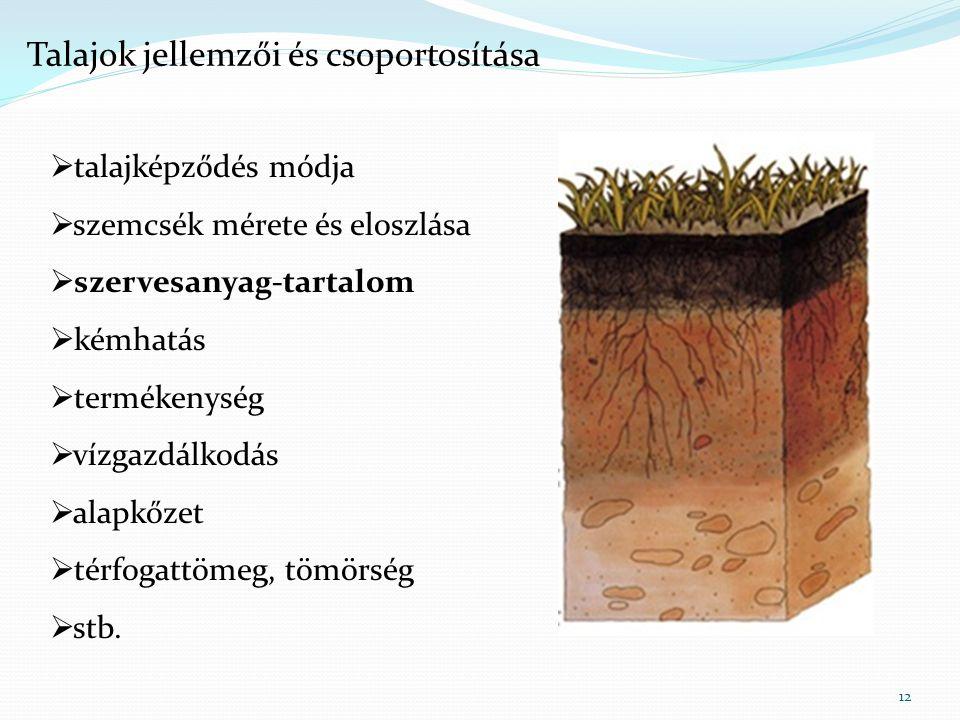 12  talajképződés módja  szemcsék mérete és eloszlása  szervesanyag-tartalom  kémhatás  termékenység  vízgazdálkodás  alapkőzet  térfogattömeg, tömörség  stb.