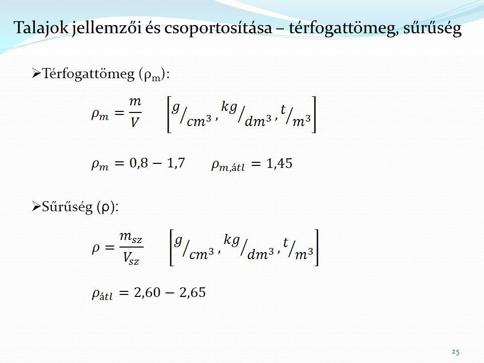25 Talajok jellemzői és csoportosítása – térfogattömeg, sűrűség  Térfogattömeg (ρ m ):  Sűrűség (ρ):