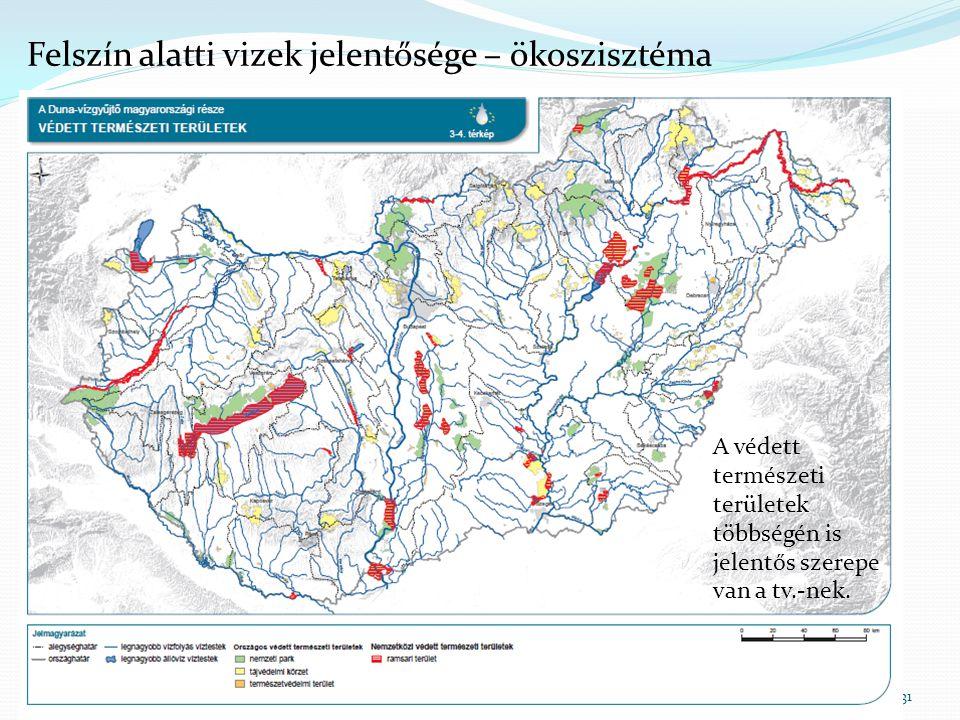 31 Felszín alatti vizek jelentősége – ökoszisztéma A védett természeti területek többségén is jelentős szerepe van a tv.-nek.