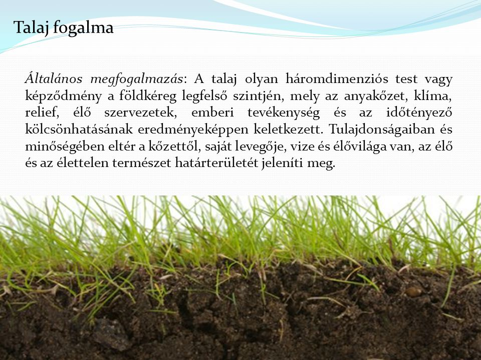 4 Általános megfogalmazás: A talaj olyan háromdimenziós test vagy képződmény a földkéreg legfelső szintjén, mely az anyakőzet, klíma, relief, élő szervezetek, emberi tevékenység és az időtényező kölcsönhatásának eredményeképpen keletkezett.
