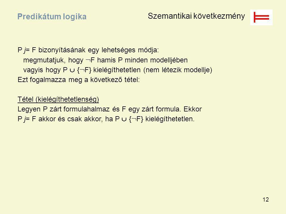 12 P j= F bizonyításának egy lehetséges módja: megmutatjuk, hogy  F hamis P minden modelljében vagyis hogy P  {  F} kielégíthetetlen (nem létezik m