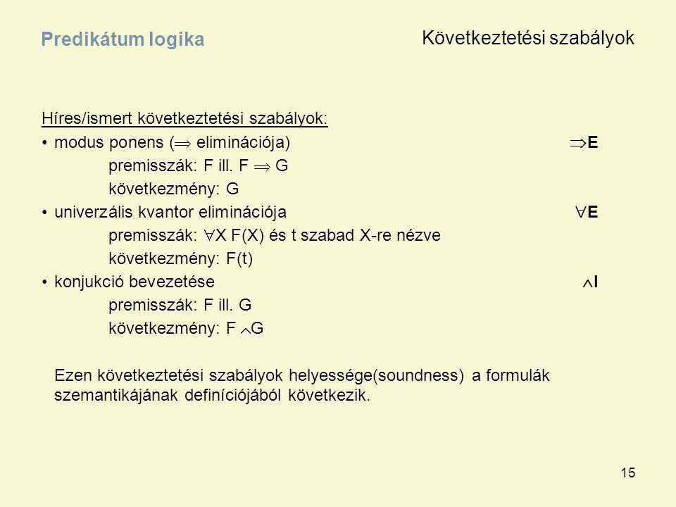 15 Híres/ismert következtetési szabályok: modus ponens (  eliminációja)  E premisszák: F ill. F  G következmény: G univerzális kvantor eliminációja