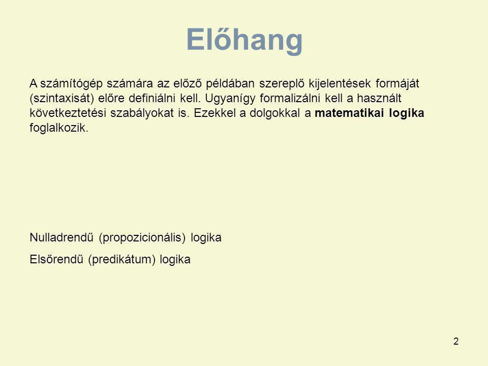 23 modell szándékolt modell Definite Logic Programs Logikai programozás áttekintése