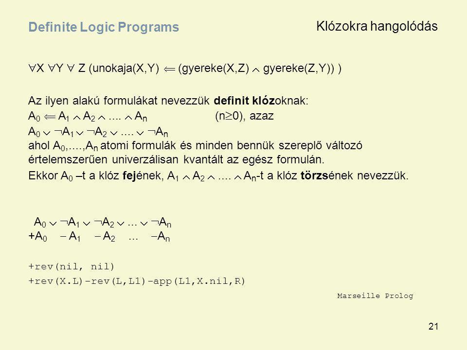 21  X  Y  Z (unokaja(X,Y)  (gyereke(X,Z)  gyereke(Z,Y)) ) Az ilyen alakú formulákat nevezzük definit klózoknak: A 0  A 1  A 2 ....  A n (n 
