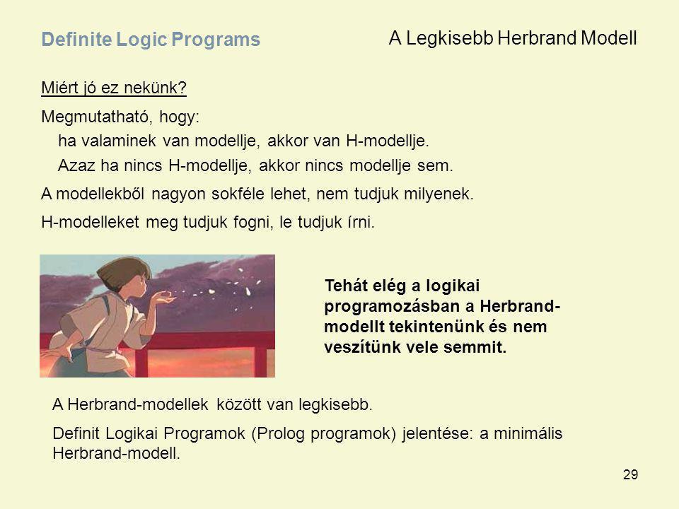 29 Miért jó ez nekünk? Megmutatható, hogy: ha valaminek van modellje, akkor van H-modellje. Azaz ha nincs H-modellje, akkor nincs modellje sem. A mode