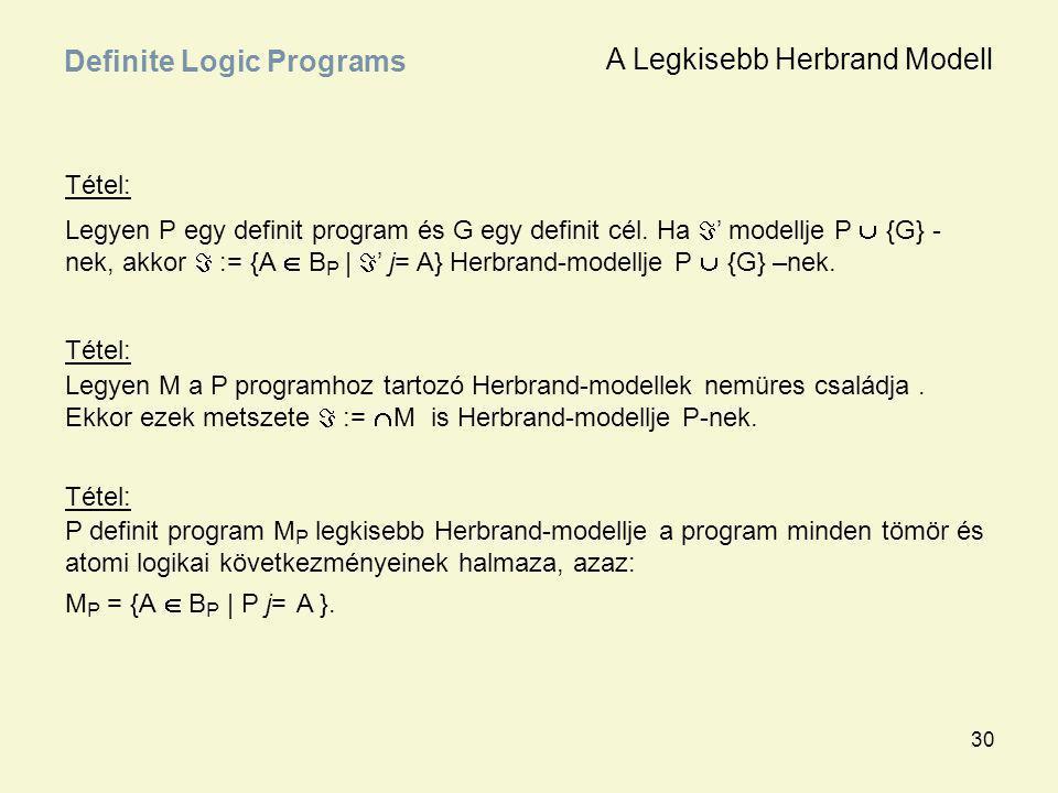 30 Tétel: Legyen P egy definit program és G egy definit cél. Ha  ' modellje P  {G} - nek, akkor  := {A  B P |  ' j= A} Herbrand-modellje P  {G}
