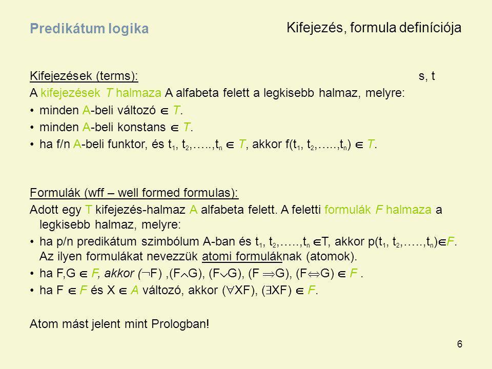 6 Kifejezések (terms):s, t A kifejezések T halmaza A alfabeta felett a legkisebb halmaz, melyre: minden A-beli változó  T. minden A-beli konstans  T