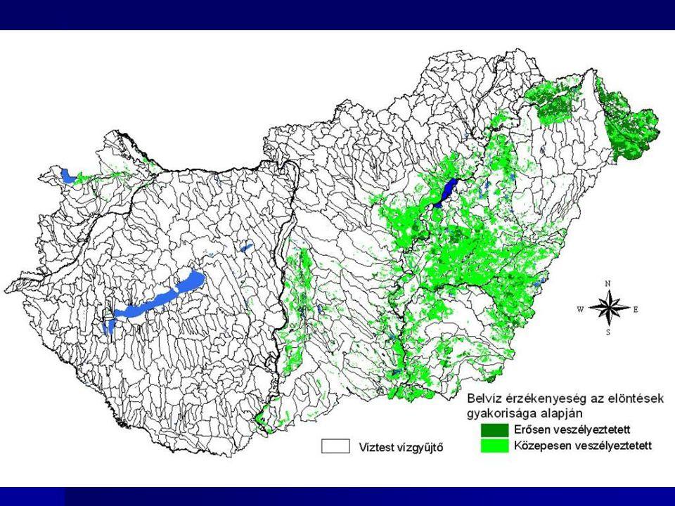 Belvíz veszélyeztetett területek Forrás: VKKI erősen veszélyeztetett: 230 ezer ha szántó, közepesen: 860 ezer ha szántó