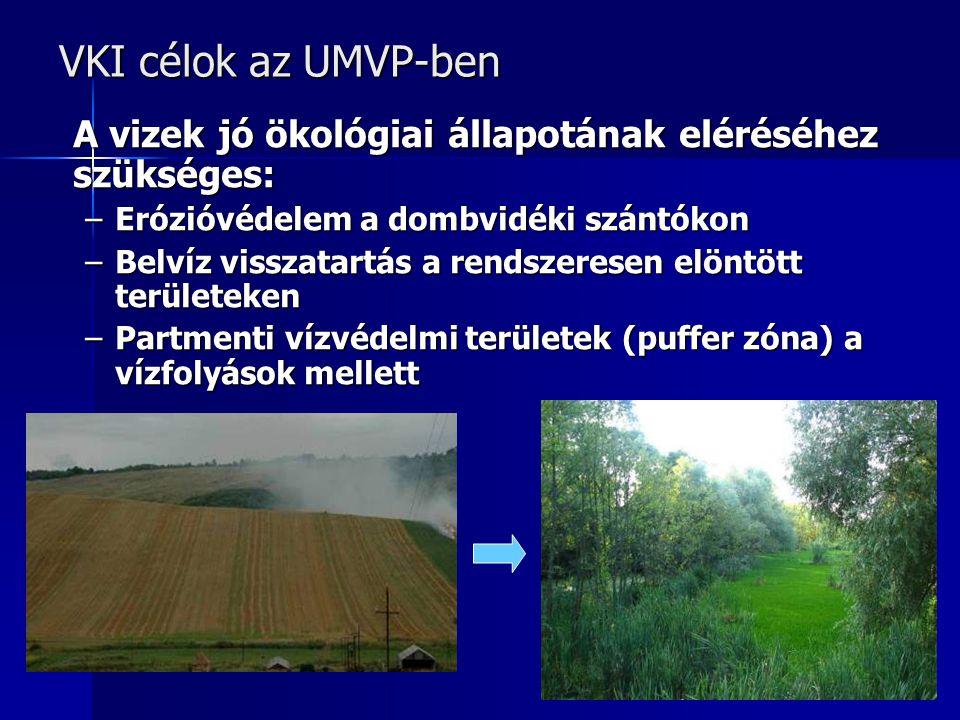 VKI célok az UMVP-ben A vizek jó ökológiai állapotának eléréséhez szükséges: –Erózióvédelem a dombvidéki szántókon –Belvíz visszatartás a rendszeresen