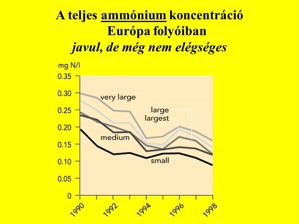 A teljes ammónium koncentráció Európa folyóiban javul, de még nem elégséges