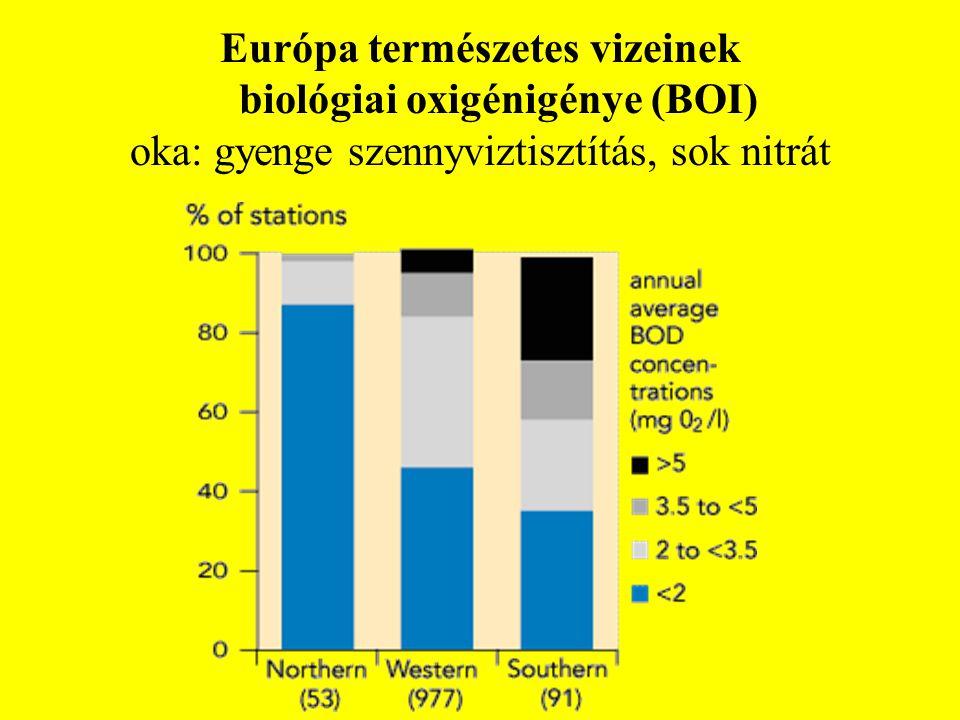 Európa természetes vizeinek biológiai oxigénigénye (BOI) oka: gyenge szennyviztisztítás, sok nitrát