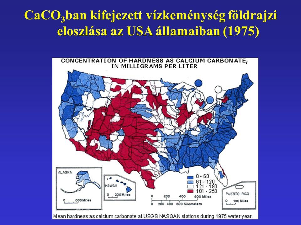 CaCO 3 ban kifejezett vízkeménység földrajzi eloszlása az USA államaiban (1975)