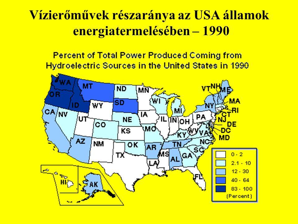 Vízierőművek részaránya az USA államok energiatermelésében – 1990 F