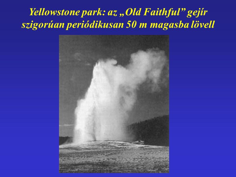 """Yellowstone park: az """"Old Faithful"""" gejír szigorúan periódikusan 50 m magasba lövell"""