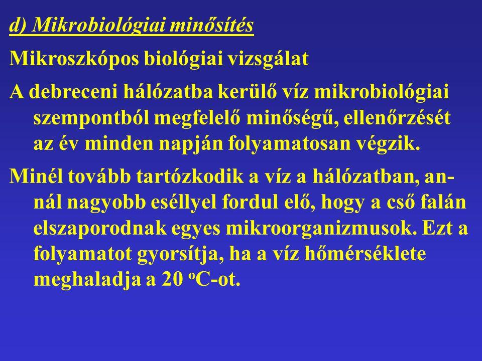 d) Mikrobiológiai minősítés Mikroszkópos biológiai vizsgálat A debreceni hálózatba kerülő víz mikrobiológiai szempontból megfelelő minőségű, ellenőrzé