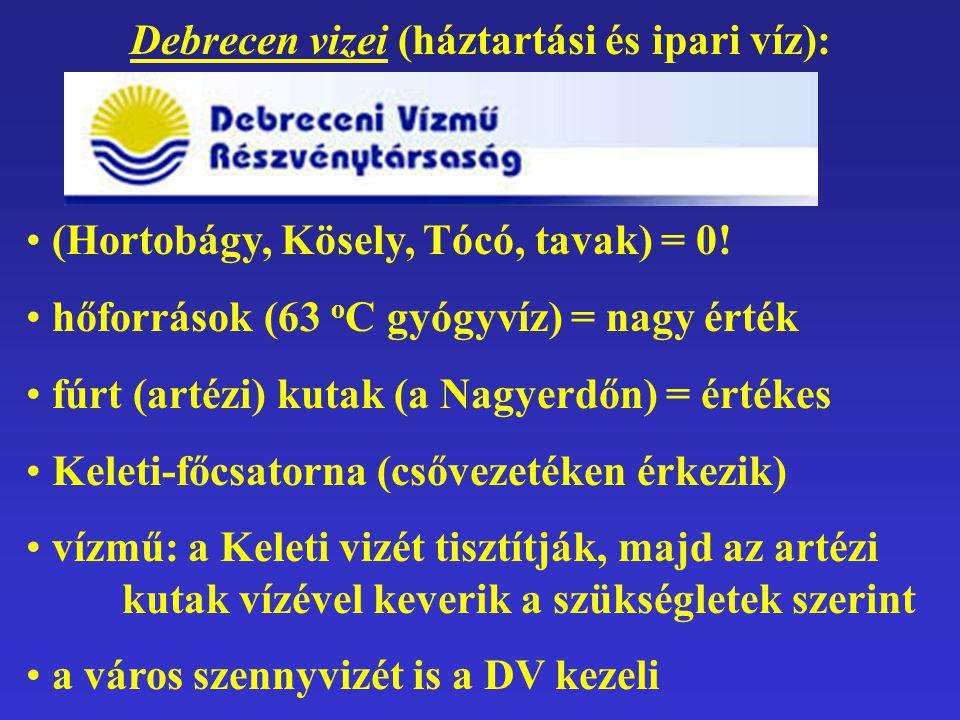 Debrecen vizei (háztartási és ipari víz): (Hortobágy, Kösely, Tócó, tavak) = 0! hőforrások (63 o C gyógyvíz) = nagy érték fúrt (artézi) kutak (a Nagye