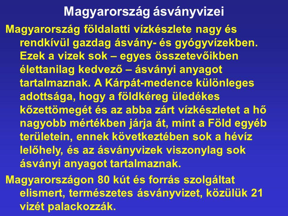 Magyarország ásványvizei Magyarország földalatti vízkészlete nagy és rendkívül gazdag ásvány- és gyógyvízekben. Ezek a vizek sok – egyes összetevőikbe