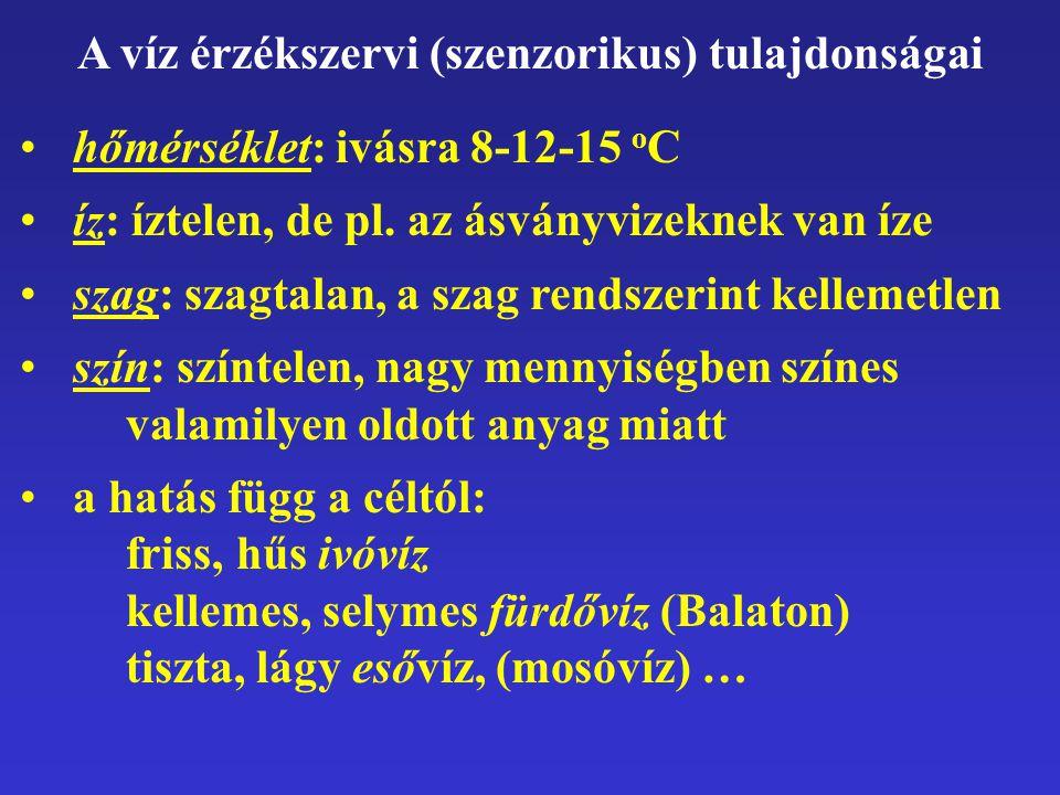 A víz érzékszervi (szenzorikus) tulajdonságai hőmérséklet: ivásra 8-12-15 o C íz: íztelen, de pl. az ásványvizeknek van íze szag: szagtalan, a szag re