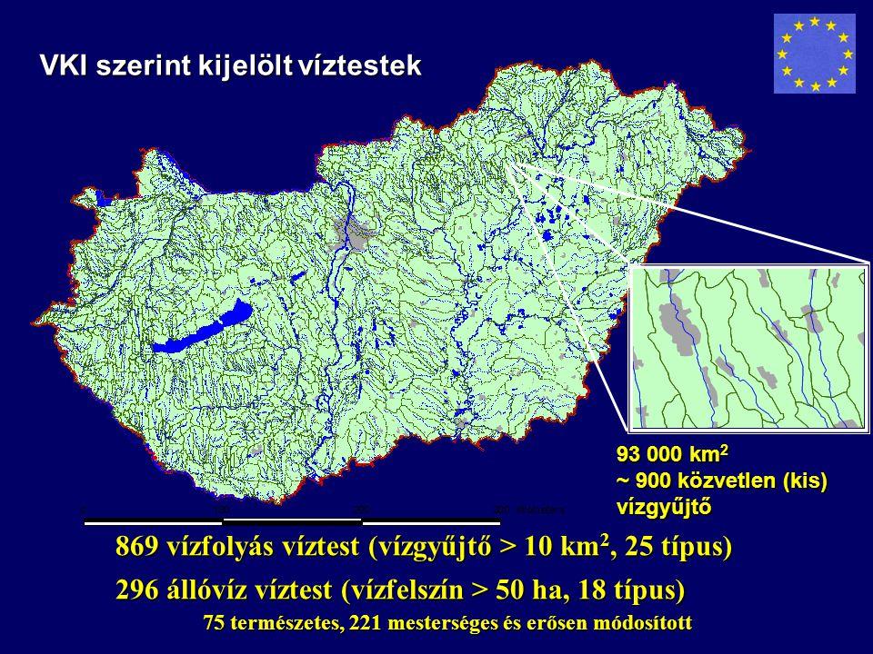 VKI szerint kijelölt víztestek 93 000 km 2 ~ 900 közvetlen (kis) vízgyűjtő 869 vízfolyás víztest (vízgyűjtő > 10 km 2, 25 típus) 296 állóvíz víztest (