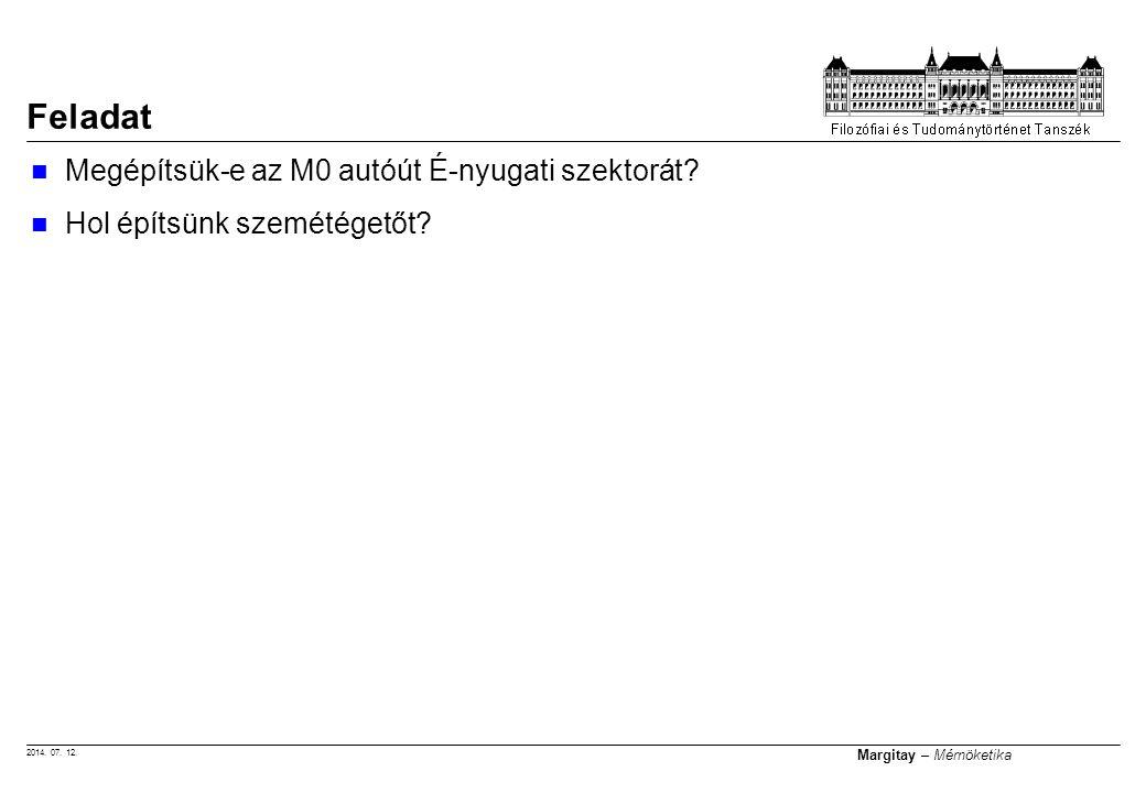 2014. 07. 12. Margitay – Mérnöketika Megépítsük-e az M0 autóút É-nyugati szektorát? Hol építsünk szemétégetőt? Feladat
