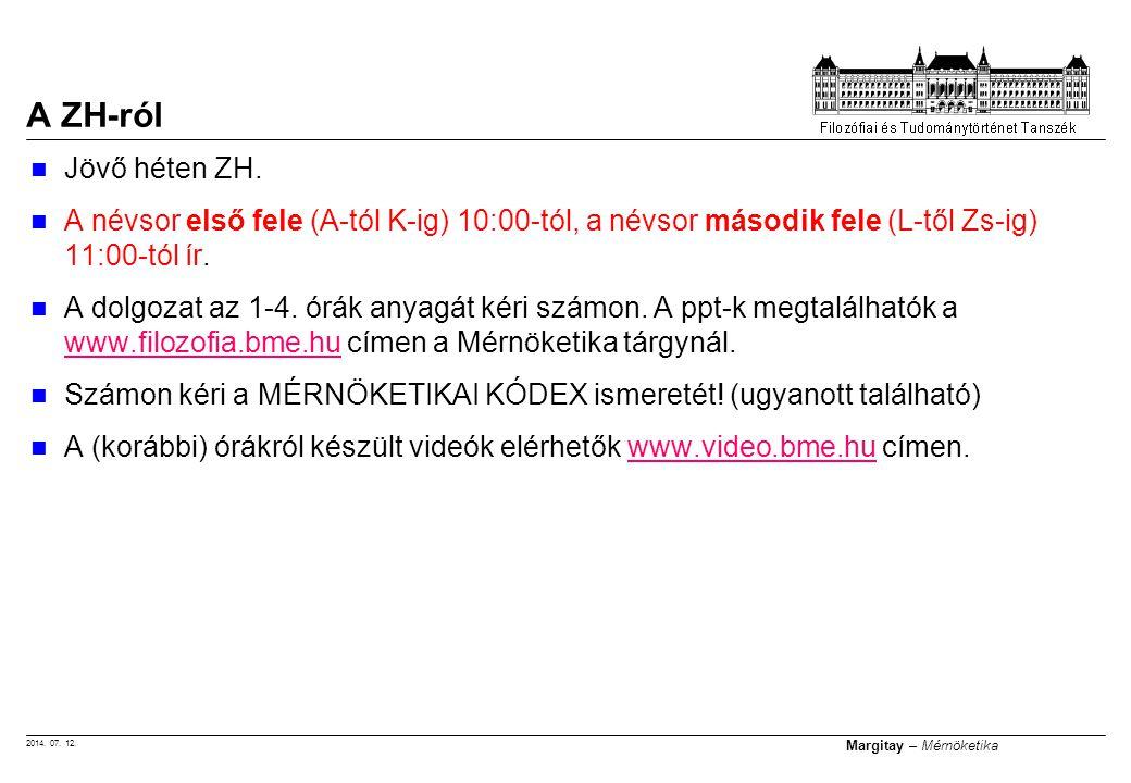 2014. 07. 12. Margitay – Mérnöketika Jövő héten ZH. A névsor első fele (A-tól K-ig) 10:00-tól, a névsor második fele (L-től Zs-ig) 11:00-tól ír. A dol