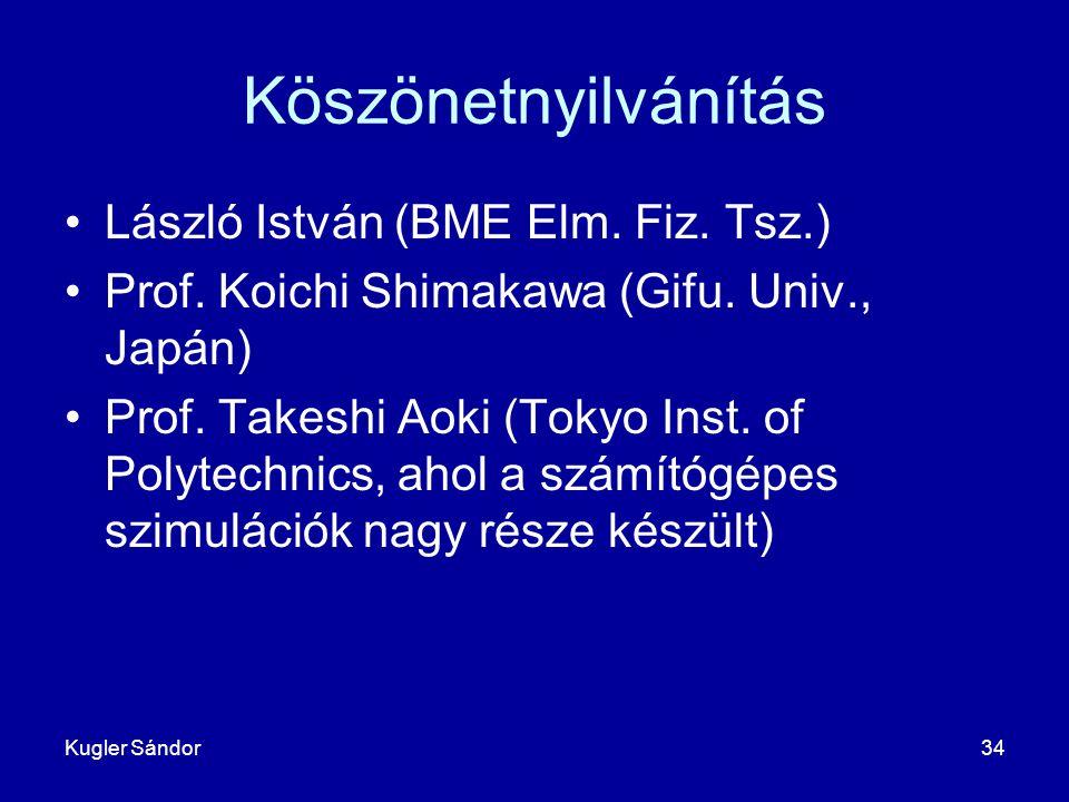 Kugler Sándor34 Köszönetnyilvánítás László István (BME Elm. Fiz. Tsz.) Prof. Koichi Shimakawa (Gifu. Univ., Japán) Prof. Takeshi Aoki (Tokyo Inst. of