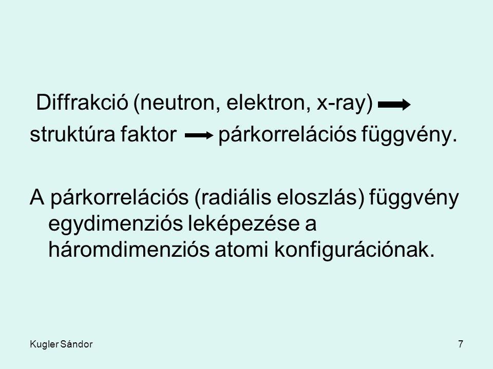 Kugler Sándor7 Diffrakció (neutron, elektron, x-ray) struktúra faktor párkorrelációs függvény. A párkorrelációs (radiális eloszlás) függvény egydimenz