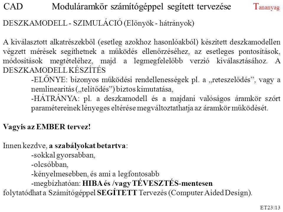 ET23:13 DESZKAMODELL - SZIMULÁCIÓ (Előnyök - hátrányok) A kiválasztott alkatrészekből (esetleg azokhoz hasonlóakból) készített deszkamodellen végzett