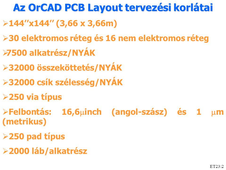 ET23:2 Az OrCAD PCB Layout tervezési korlátai  144''x144'' (3,66 x 3,66m)  30 elektromos réteg és 16 nem elektromos réteg  7500 alkatrész/NYÁK  32000 összeköttetés/NYÁK  32000 csík szélesség/NYÁK  250 via típus  Felbontás: 16,6  inch (angol-szász) és 1  m (metrikus)  250 pad típus  2000 láb/alkatrész