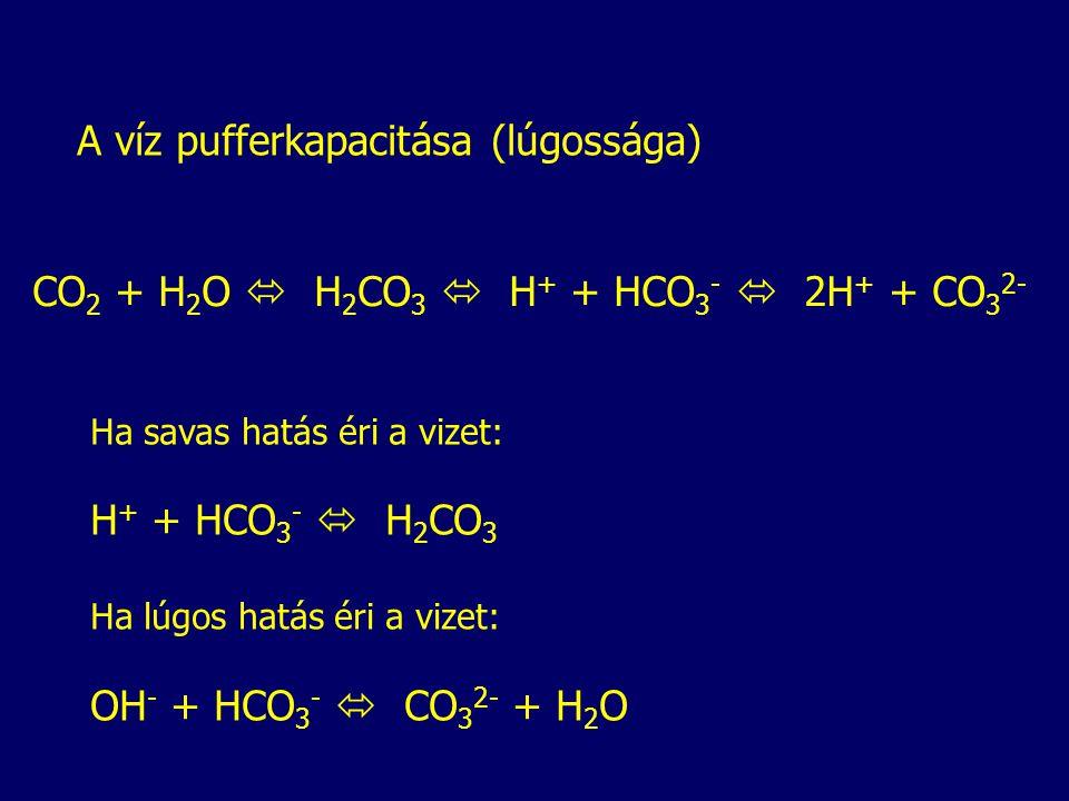 A víz pufferkapacitása (lúgossága) CO 2 + H 2 O  H 2 CO 3  H + + HCO 3 -  2H + + CO 3 2- Ha savas hatás éri a vizet: H + + HCO 3 -  H 2 CO 3 Ha lúgos hatás éri a vizet: OH - + HCO 3 -  CO 3 2- + H 2 O