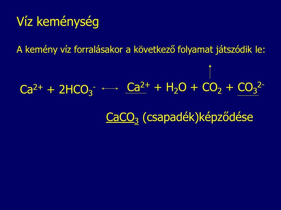 Víz keménység A kemény víz forralásakor a következő folyamat játszódik le: Ca 2+ + 2HCO 3 - Ca 2+ + H 2 O + CO 2 + CO 3 2- CaCO 3 (csapadék)képződése