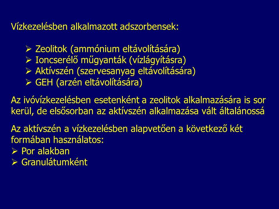 Vízkezelésben alkalmazott adszorbensek:  Zeolitok (ammónium eltávolítására)  Ioncserélő műgyanták (vízlágyításra)  Aktívszén (szervesanyag eltávolítására)  GEH (arzén eltávolítására) Az ivóvízkezelésben esetenként a zeolitok alkalmazására is sor kerül, de elsősorban az aktívszén alkalmazása vált általánossá Az aktívszén a vízkezelésben alapvetően a következő két formában használatos:  Por alakban  Granulátumként