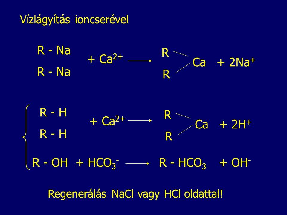 Vízlágyítás ioncserével R - Na + Ca 2+ R R Ca+ 2Na + R - H + Ca 2+ R R Ca+ 2H + R - OH+ HCO 3 - R - HCO 3 + OH - Regenerálás NaCl vagy HCl oldattal!