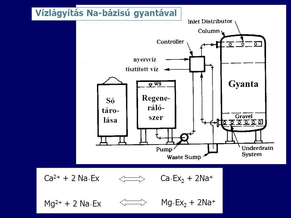 Ca 2+ + 2 Na ˙ ExCa ˙ Ex 2 + 2Na + Mg ˙ Ex 2 + 2Na + Mg 2+ + 2 Na ˙ Ex Vízlágyítás Na-bázisú gyantával Gyanta Regene- ráló- szer Só táro- lása nyersvíz tisztított víz