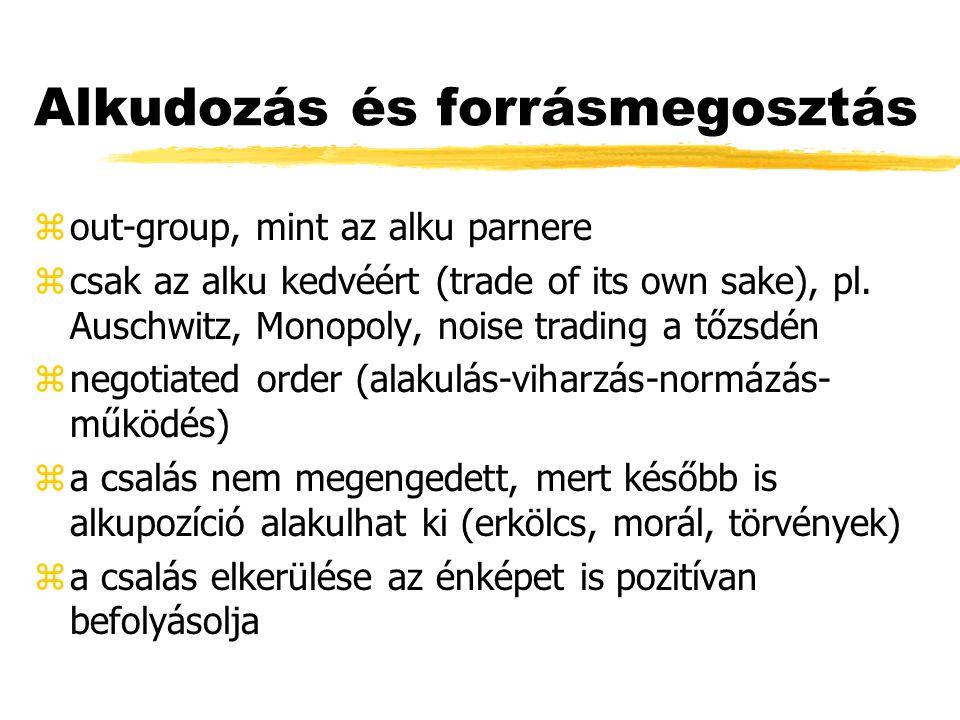 Alkudozás és forrásmegosztás zout-group, mint az alku parnere zcsak az alku kedvéért (trade of its own sake), pl.