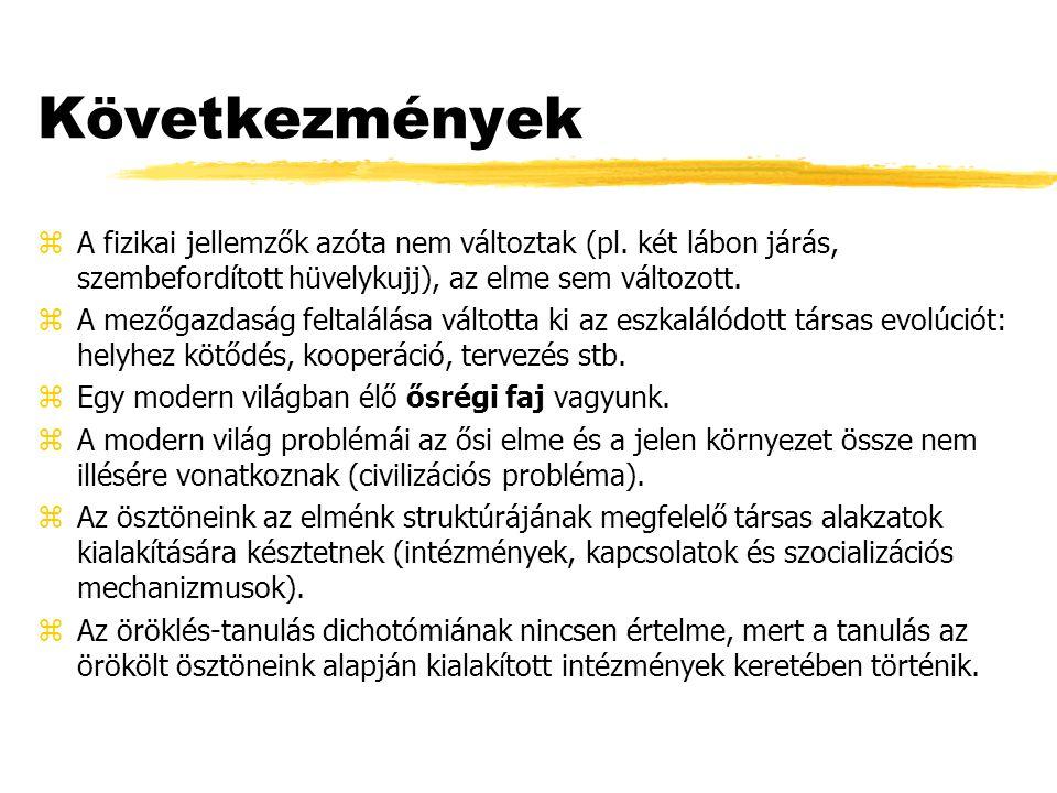 Következmények zA fizikai jellemzők azóta nem változtak (pl.